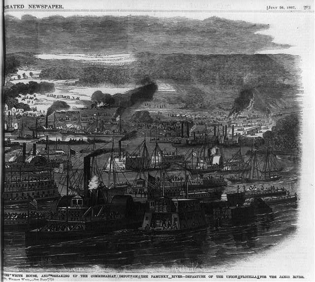 At the White House, and breaking up the comissariat depot on the Pamunky River - departure of the Union flotilla for the James River