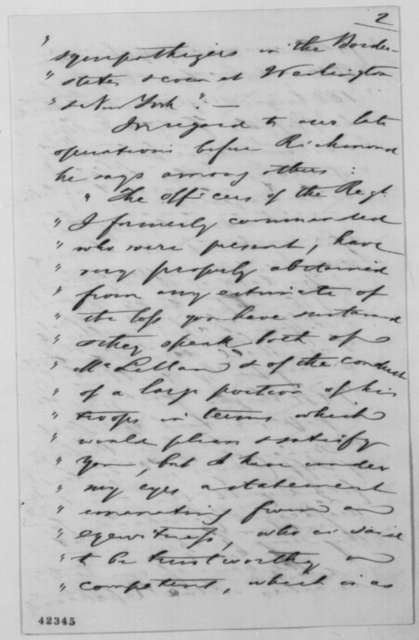August Belmont to Abraham Lincoln, Thursday, September 04, 1862  (Political and military affairs)
