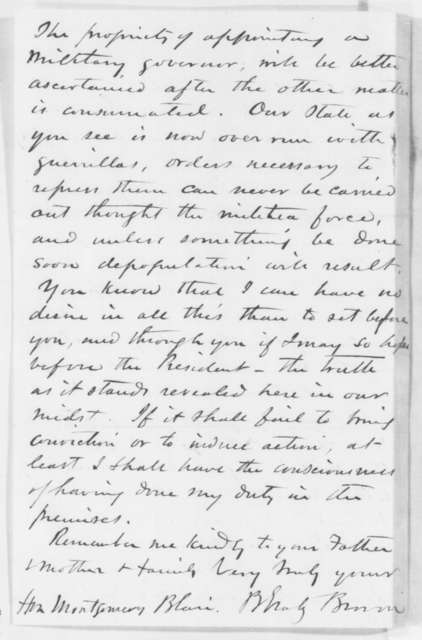 B. Gratz Brown to Montgomery Blair, Tuesday, June 24, 1862  (Missouri state militia)