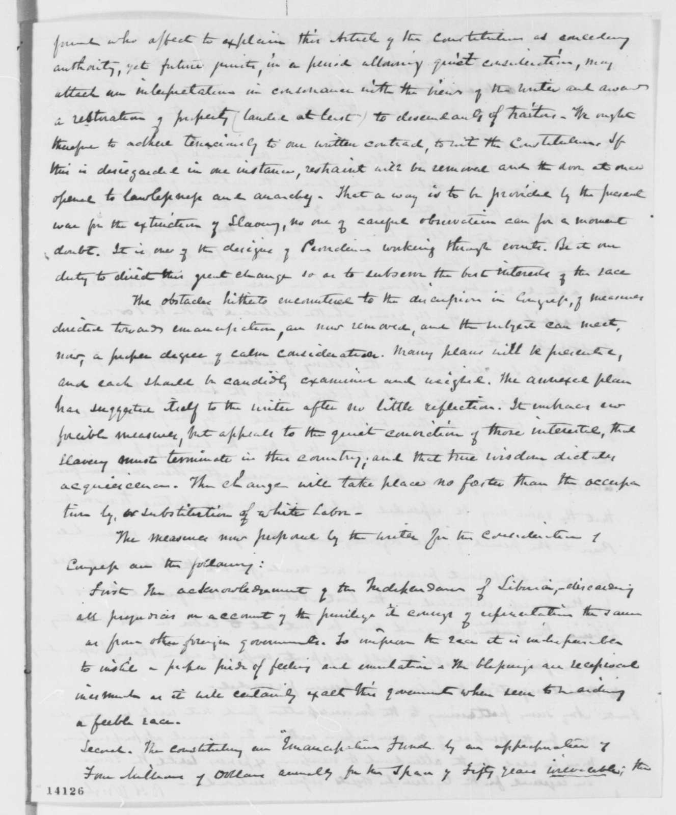 B. H. Wright to Abraham Lincoln, Wednesday, January 22, 1862  (Plan for emancipation)