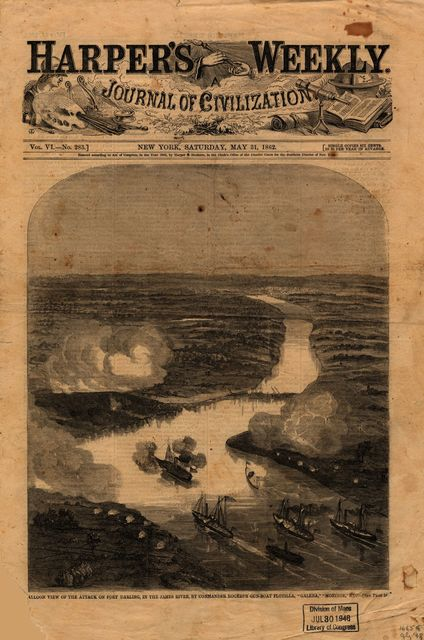 "[B]alloon view of the attack on Fort Darling in the James River, by Commander Rogers's [sic] [i.e., Rodger's] gun-boat flotilla, ""Galena,"" ""Monitor,"" etc. [May 16, 1862]"