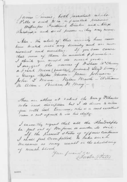 Barton Bates to Franklin A. Dick, Tuesday, December 30, 1862  (Complains of rebel activity in St. Charles County, Missouri; endorsed by Dick to Samuel R. Curtis, Dec. 31, 1862)