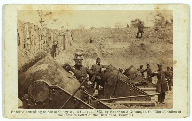 Battery, No. 4--near Yorktown, mounting 10 13-inch mortars, each weighing 20,000 pounds. East-South end / Brady's Album Gallery.