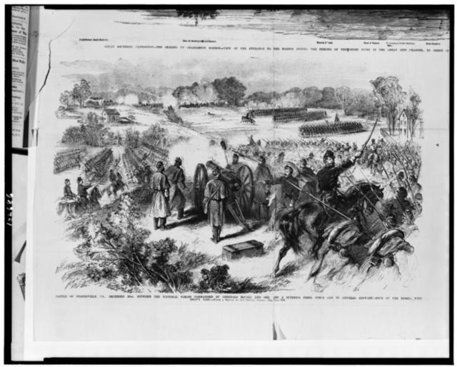 Battle of Dranesville, Va., December 20th, between the national forces commanded by Generals McCall and Ord, and a superior rebel force led by General Stewart - rout of the rebels with heavy loss / from a sketch by our special artist.