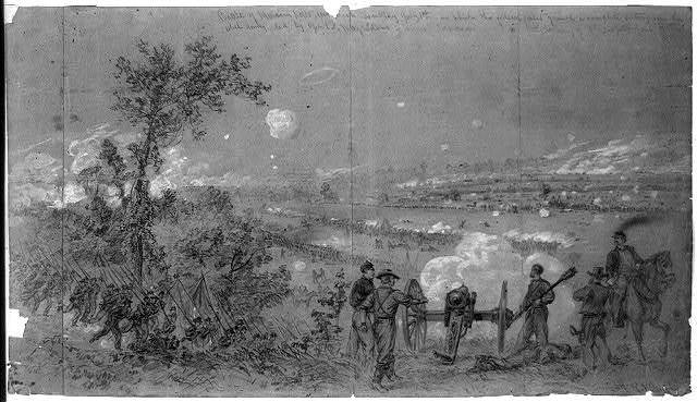 Battle of Malvern hills fou[ght] on Tuesday July 1st in which the federal forces gained a complete victory over the rebel army, led by Genl's Magruder and Jackson