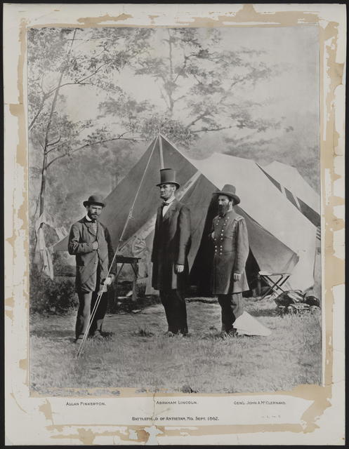 Battlefield of Antietam Maryland, [Retouched Gardner photograph of Lincoln, Pinkerton & McClernand].