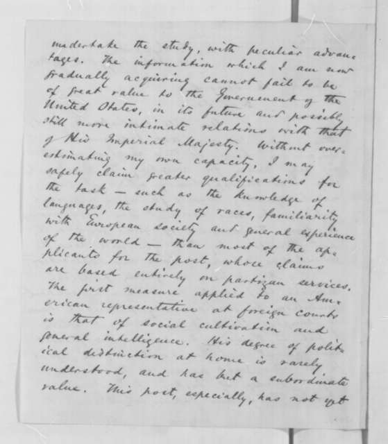 Bayard Taylor to William H. Seward, Wednesday, October 29, 1862  (Wants to remain in Russia)