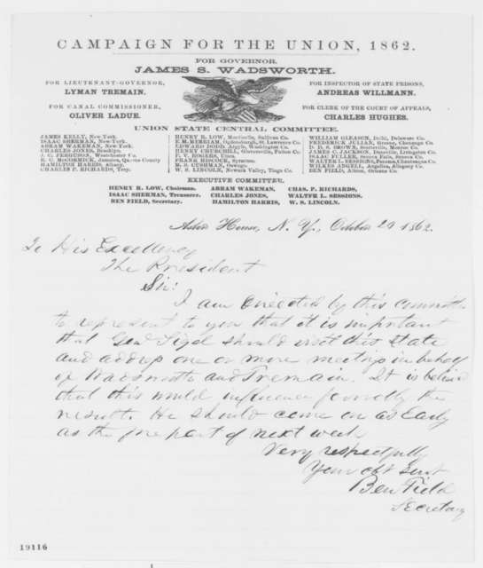 Ben Field to Abraham Lincoln, Monday, October 20, 1862  (Speeches by General Sigel)