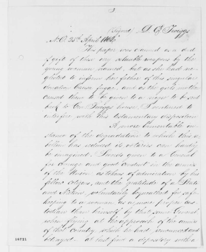 Benjamin F. Butler to Abraham Lincoln, Tuesday, July 01, 1862  (Sends captured swords)