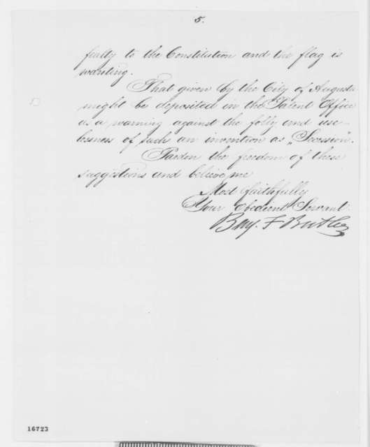 Benjamin F. Butler to Abraham Lincoln, Tuesday, July 01, 1862  (Sends captured swords)