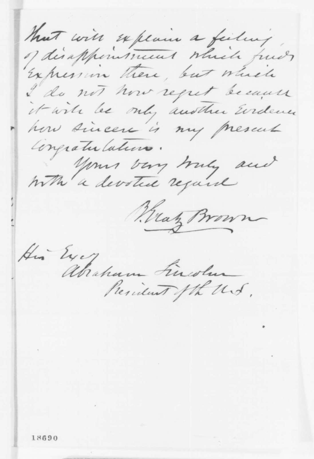 Benjamin Gratz Brown to Abraham Lincoln, Saturday, September 27, 1862  (Support for Emancipation Proclamation)