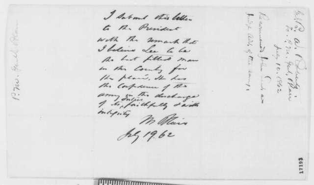 Benjamin S. Roberts to Montgomery Blair, Saturday, July 19, 1862  (Judge Advocate; endorsed by Blair)