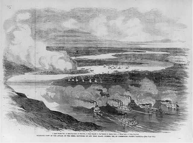 Bird's-eye view of the attack on the rebel batteries on and near the island number ten by Commodore Foote's flotila [March 1862]