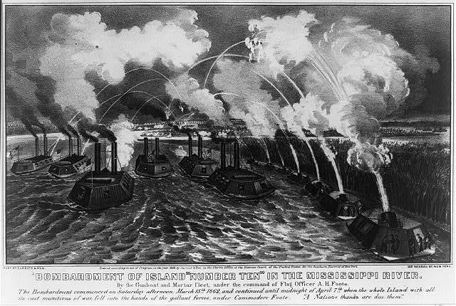 """Bombardment of Island """"Number ten"""" in the Mississippi River: By the gunboat and mortar fleet, under the Command of Flag Officer A.H. Foote"""