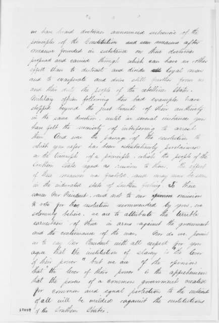 Border State Congressmen to Abraham Lincoln, Monday, July 14, 1862  (Response to Lincoln's proposal for compensated emancipation)