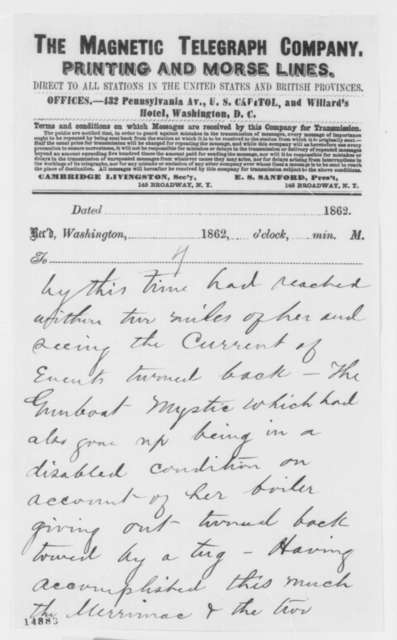 Brigham to New York City Tribune, Sunday, March 09, 1862  (Telegram reporting engagement between Merrimac and U.S. Navy)