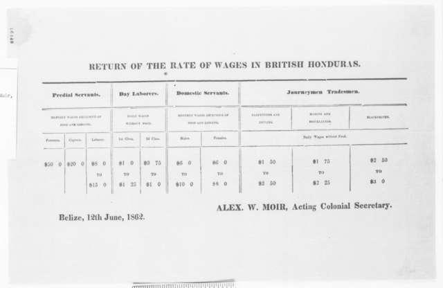 British Honduras, Thursday, June 12, 1862  (Printed Broadside)