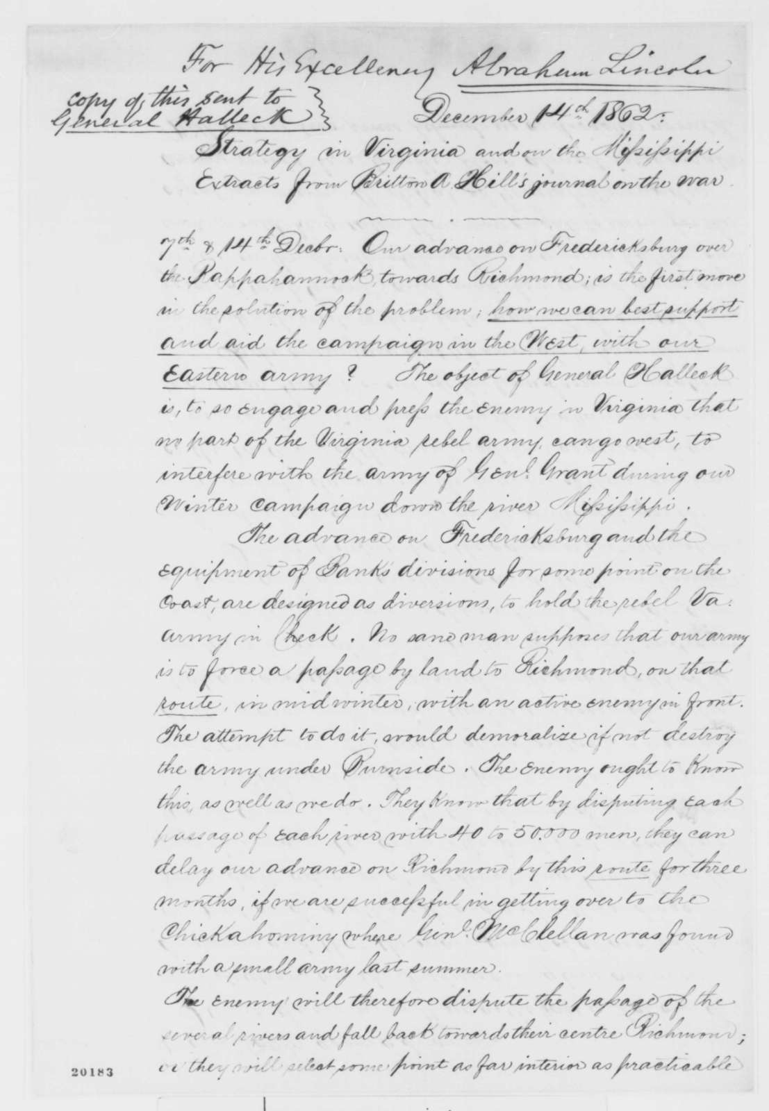 Britton A. Hill to Abraham Lincoln, Monday, December 15, 1862  (Military advice)