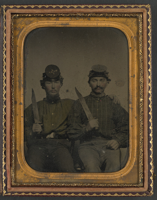 [Brothers Private Thomas D. Hilliard and Corporal John Hilliard of Co. C, 12th North Carolina Infantry Regiment, in uniform with Bowie knives]