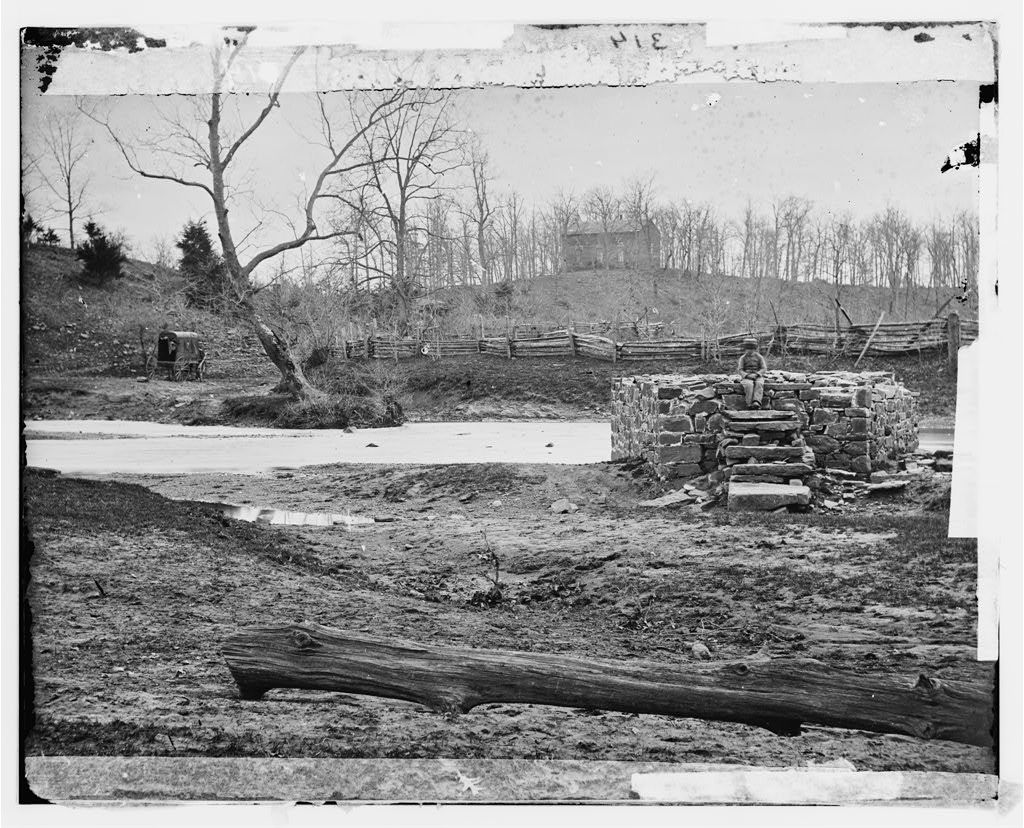 [Bull Run, Va. Catharpin Run, Sudley Church, and the remains of the Sudley Sulphur Spring house]