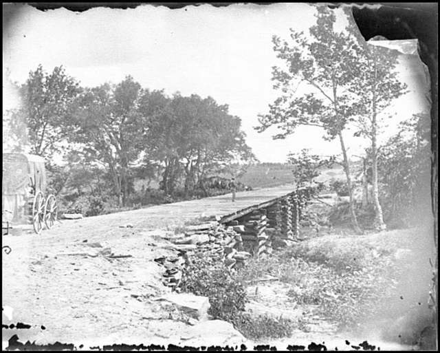 [Bull Run, Va. New bridge built by McDowell's engineers; photographer's wagon at left]