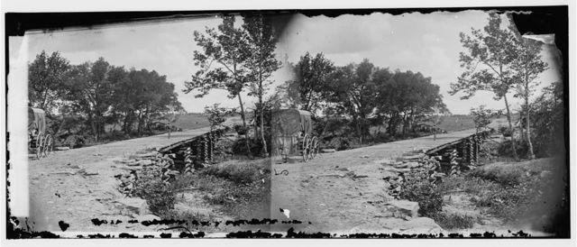 [Bull Run, Va. New bridge built by McDowell's engineers; photographer's wagon at left]