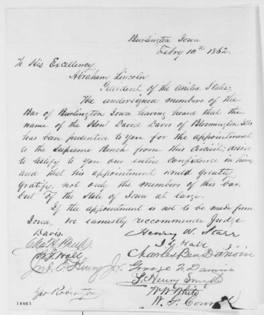 Burlington Iowa Bar Association to Abraham Lincoln, Monday, February 10, 1862  (Petition recommending David Davis)