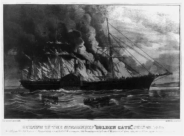 "Burning of the steamship ""Golden Gate"" :July 27. 1862"