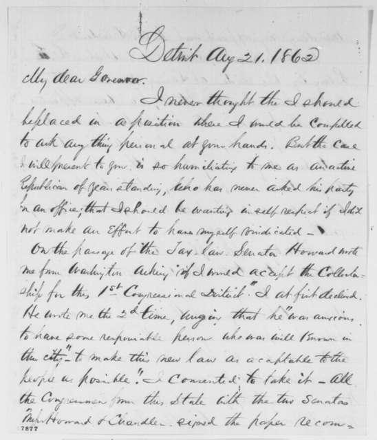 C. A. Trowbridge to William H. Seward, Thursday, August 21, 1862  (Appointment)