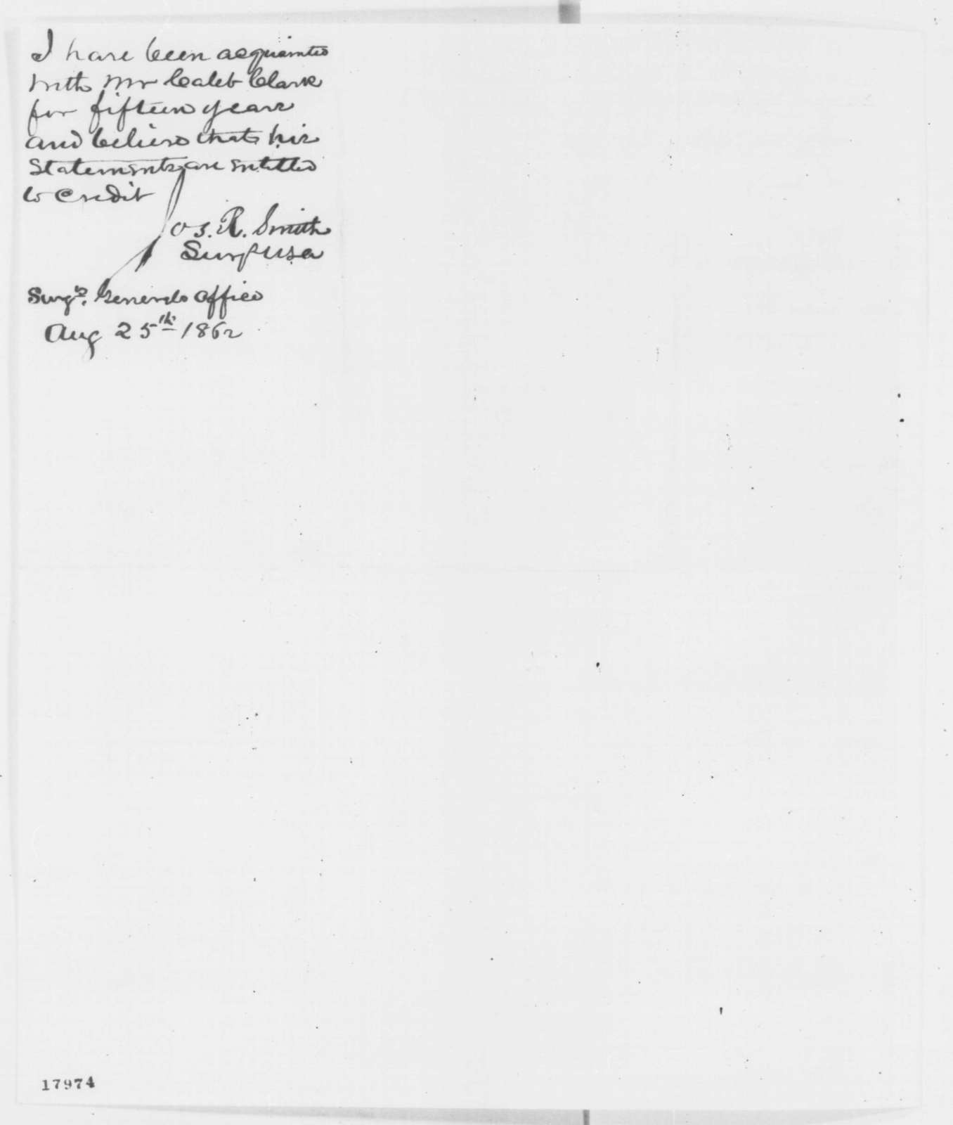 C. Clark to Bradley F. Granger, Monday, August 25, 1862  (Recommendation; endorsed by Joseph R. Smith)