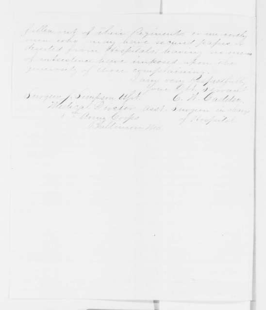 C. W. Cadden to Josiah Simpson, Wednesday, October 22, 1862  (Conditions at hospital in Baltimore)