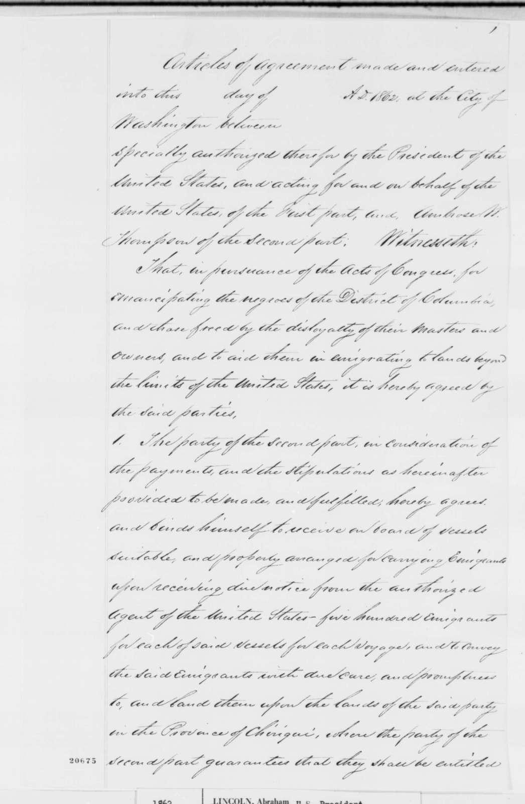 [Caleb B. Smith?], Thursday, September 11, 1862  (Draft of Agreement with Ambrose W. Thompson on Emigration of Freedmen to Granada)