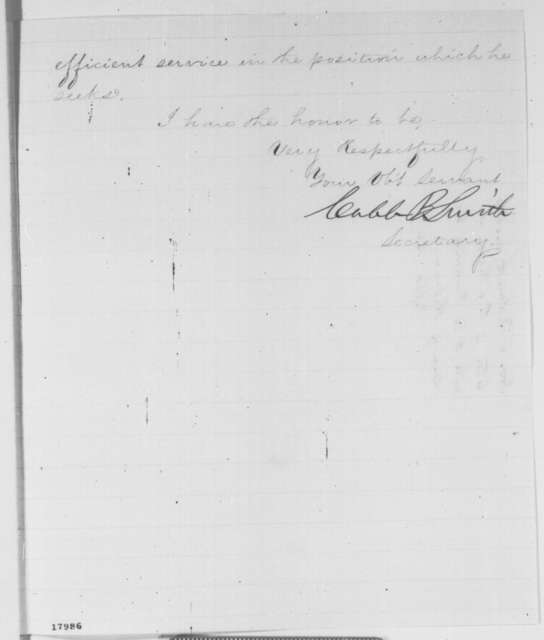 Caleb B. Smith to Abraham Lincoln, Monday, August 25, 1862  (Recommendation)