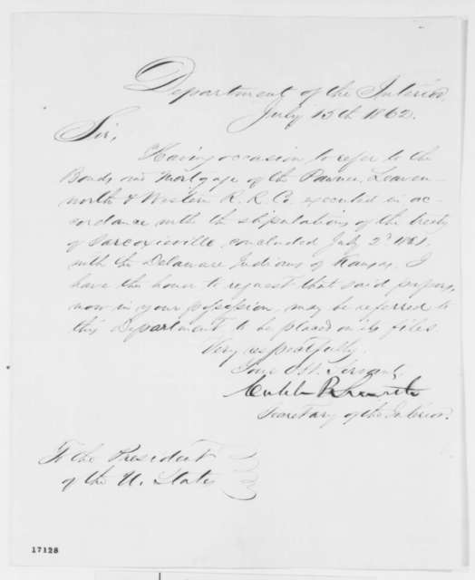 Caleb B. Smith to Abraham Lincoln, Tuesday, July 15, 1862  (Requests papers)