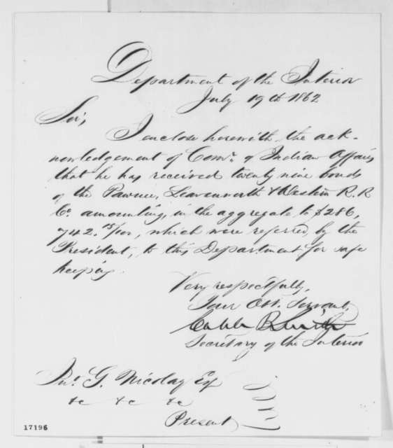 Caleb B. Smith to John G. Nicolay, Saturday, July 19, 1862  (Cover letter)