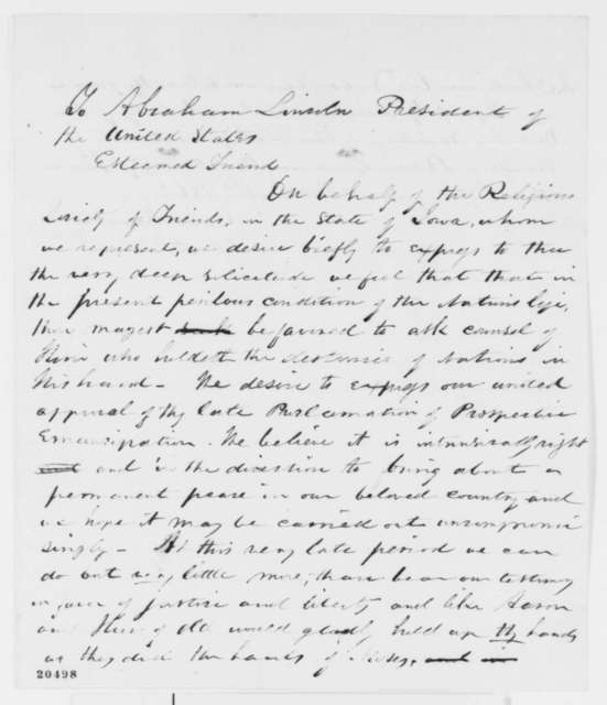 Caleb Russell and Sallie A. Fenton to Abraham Lincoln, Saturday, December 27, 1862  (Support for Emancipation Proclamation from Iowa Quakers)