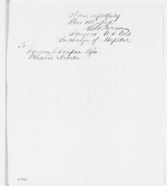 Caleb V. Jones to Josiah Simpson, Tuesday, October 21, 1862  (Affairs at the hospital in Baltimore)