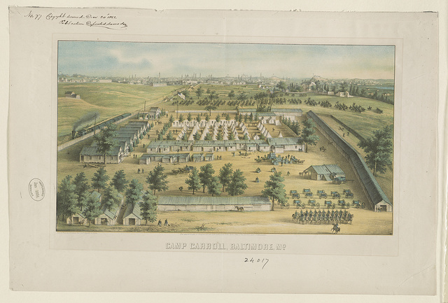 Camp Carroll, Baltimore, Md / Lith. & print by E. Sachse & Co., 104 S. Charles St., Baltimore, Md.