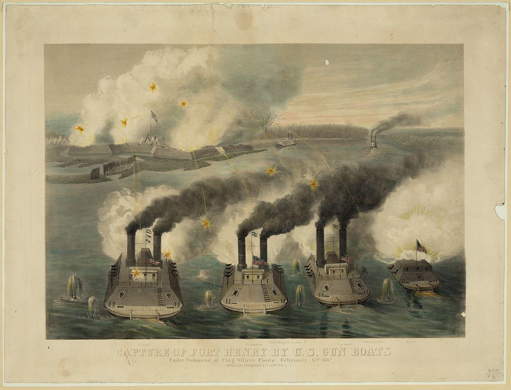 Capture of Fort Henry by U.S. gun boats under the command of Flag Officer Foote, February 6th 1862 / J.G. ; Middleton, Strobridge & Co. Lith. Cin. O.