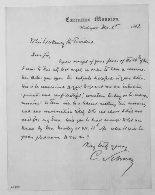 Carl Schurz to Abraham Lincoln, Tuesday, December 02, 1862  (Seeks interview)