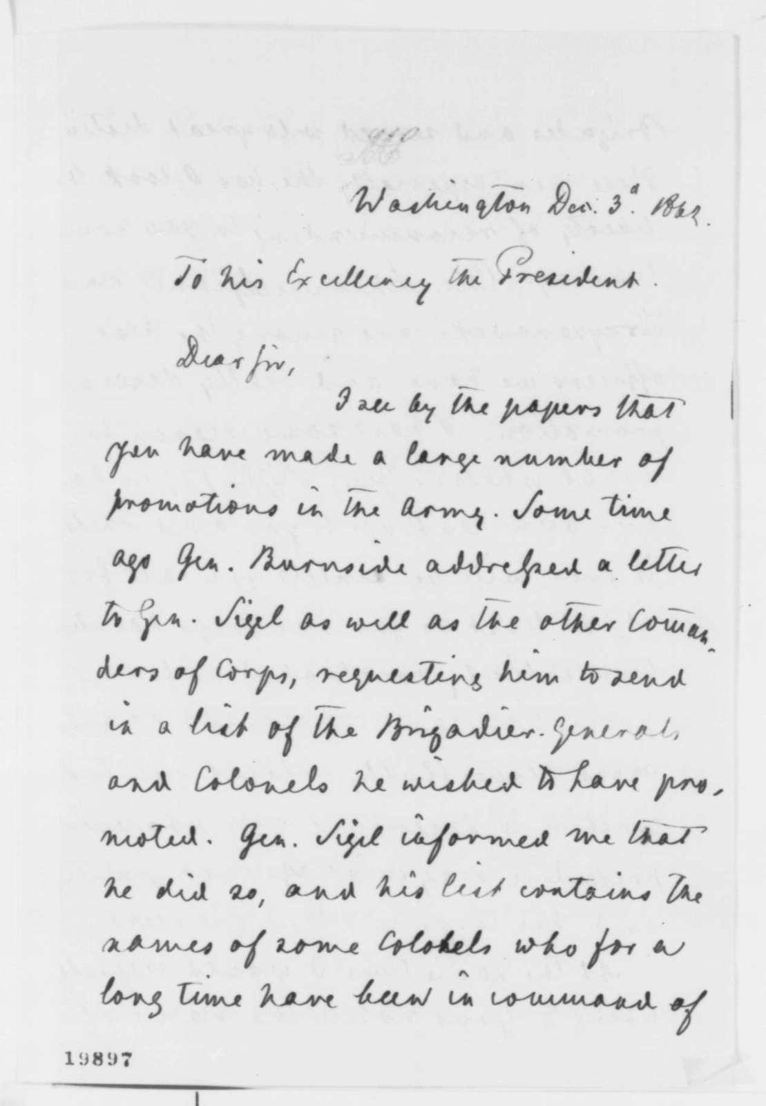 Carl Schurz to Abraham Lincoln, Wednesday, December 03, 1862  (Military affairs)
