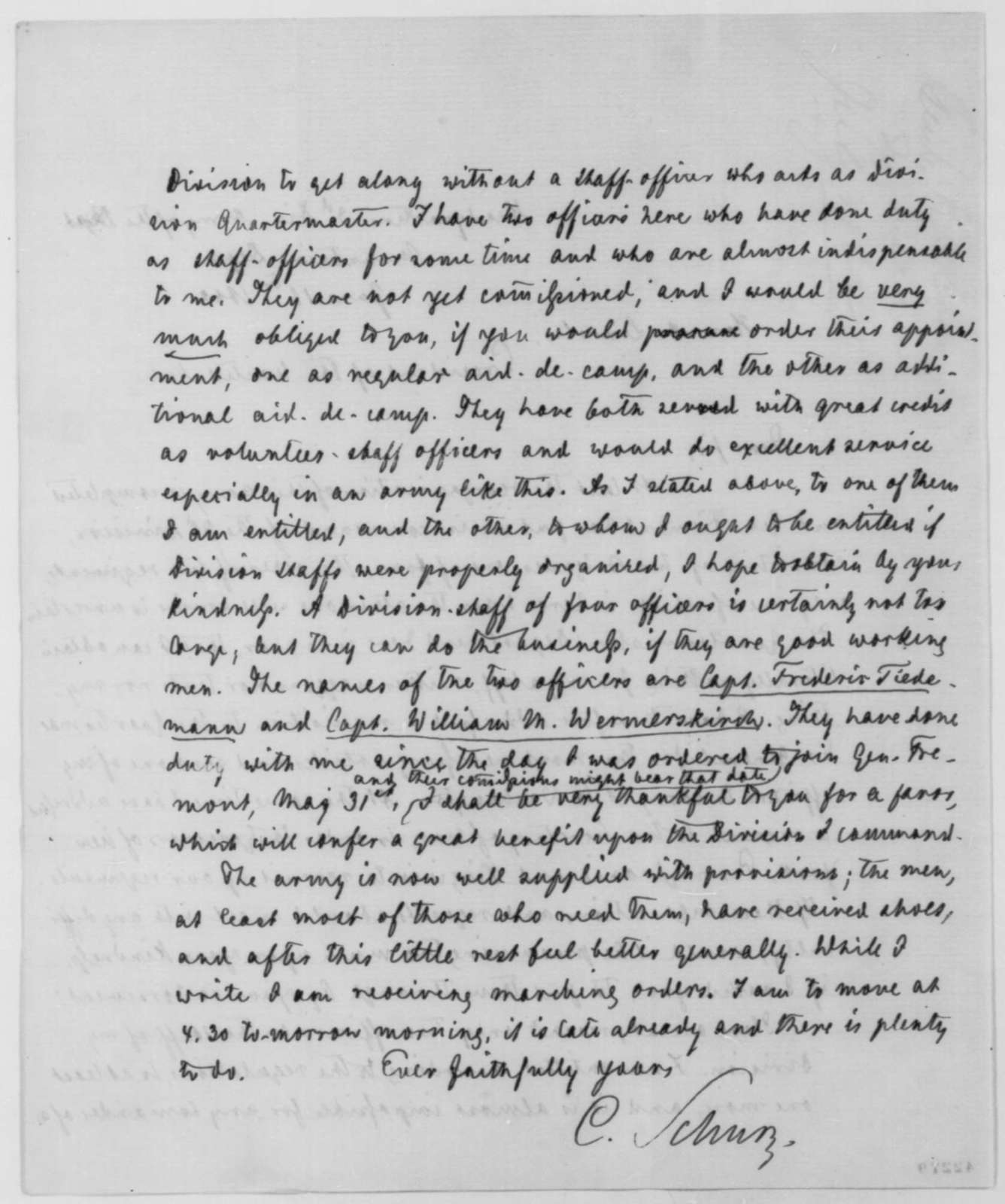 Carl Schurz to Abraham Lincoln, Wednesday, June 18, 1862  (Military affairs)