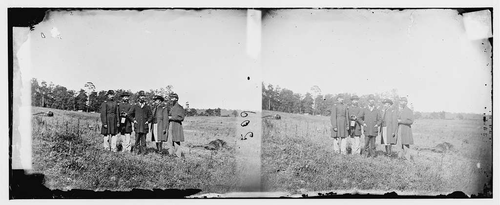 Cedar Mountain, Virginia. Officers of 10th Maine Regt. on the battlefield