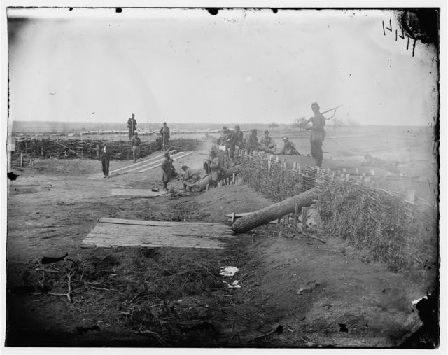 Centreville, Virginia. Confederate fort on the heights with Quaker guns