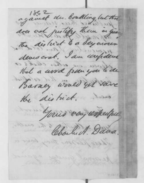 Charles A. Dana to Abraham Lincoln, Thursday, October 30, 1862  (New York politics)