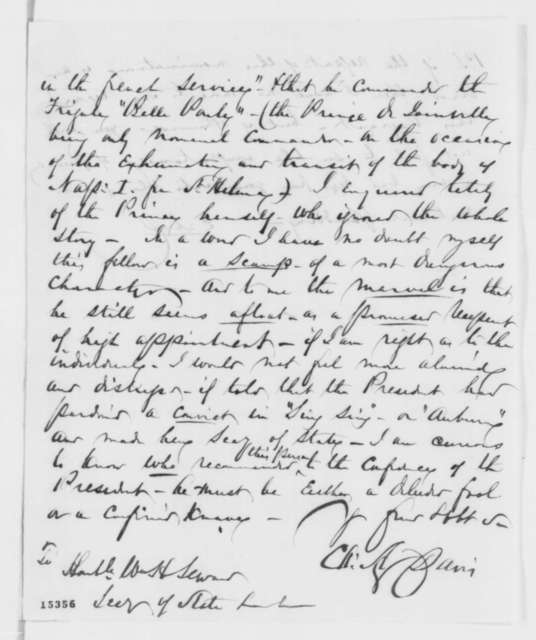 Charles A. Davis to William H. Seward, Wednesday, April 02, 1862  (Juan Napolean Zerman)