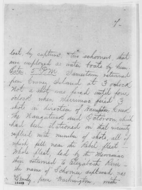 Charles C. Fulton to Edwin M. Stanton, Saturday, April 12, 1862  (Telegram regarding military affairs)