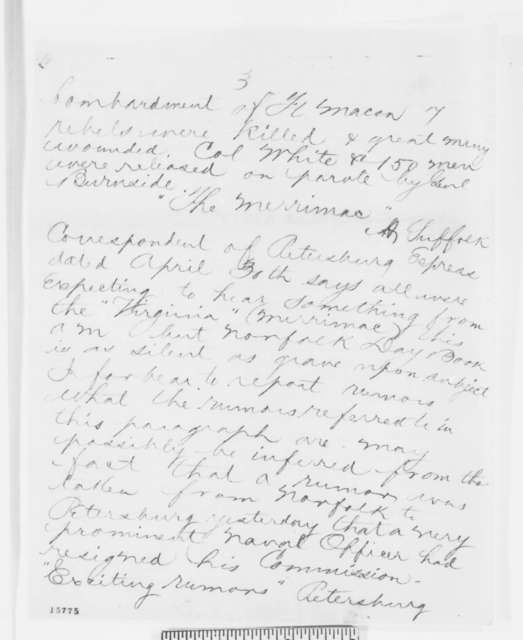Charles C. Fulton to Gustavus V. Fox, Friday, May 02, 1862  (Telegram regarding military affairs)