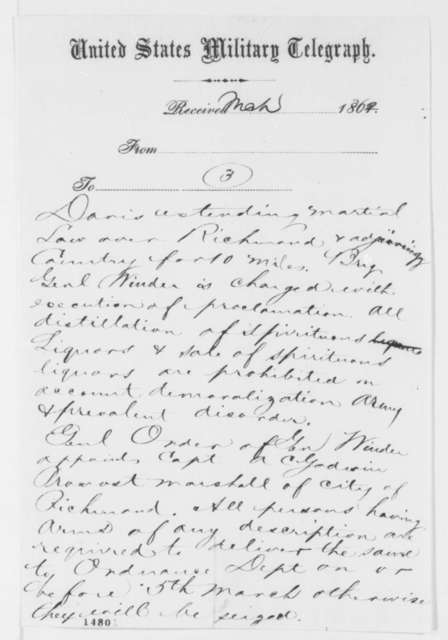 Charles C. Fulton to Gustavus V. Fox, Wednesday, March 05, 1862  (Telegram regarding military affairs)