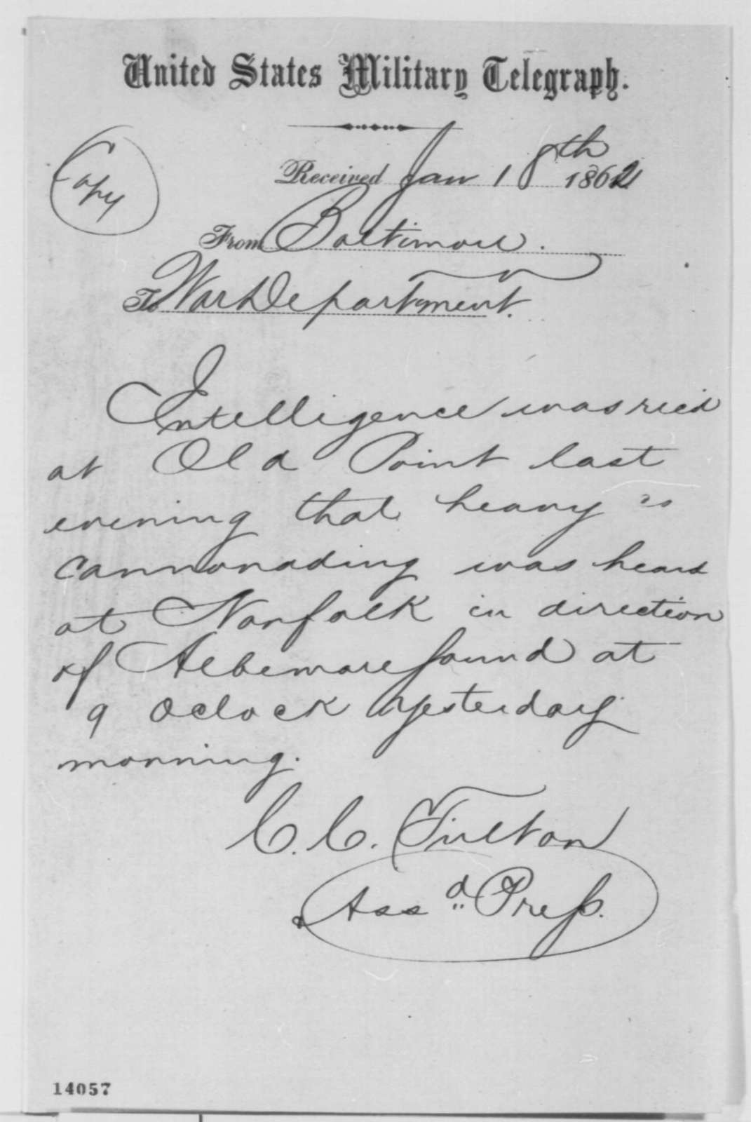 Charles C. Fulton to War Department, Saturday, January 18, 1862  (Telegram regarding military affairs)